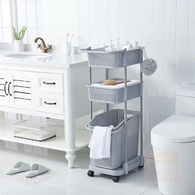2 in 1 Durable Weave PP Laundry Basket with 2 tier Storage Holder - Beige
