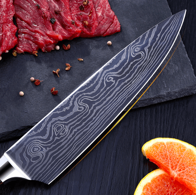 Japanese Damascus Stainless Steel Multi Purpose Unibody Knife, HippoMart - HippoMart.SG - Premium Item at Direct Factory Price