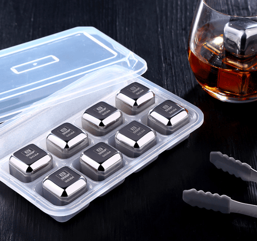 Whiskey Stones Reusable Chilling SUS304 Stainless Steel Ice Cubes Gift Set for Scotch Whisky/Tequila/Vodka/Liquors (Pack of 8)