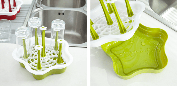 Multipurpose 6 Piece Bottle/Cup/Dish Drying Rack - Green, HippoMart - HippoMart.SG - Premium Item at Direct Factory Price