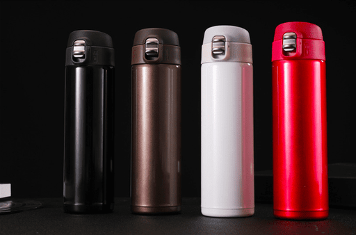 Insulated Vacuum Thermos Bottle Stainless Steel Push-Lock Water Bottle 480ml - Coffee Brown, HippoMart - HippoMart.SG - Premium Item at Direct Factory Price