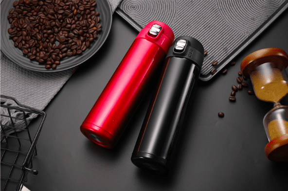 Insulated Vacuum Thermos Bottle Stainless Steel Push-Lock Water Bottle 480ml - Black, HippoMart - HippoMart.SG - Premium Item at Direct Factory Price
