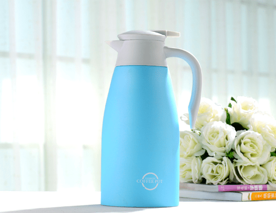 Thermal Carafe, 1.5L Big Capacity Coffee Carafe Double-Wall Vacuum Insulated Stainless Steel Thermos Coffee Pot, Jug Flask, Tea Pot Water Pitcher with Press Button - Sky Blue, HippoMart - HippoMart.SG - Premium Item at Direct Factory Price