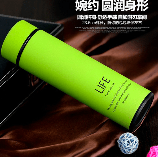 Insulated Vacuum Double Wall Non-Slip Travel Thermal Bottle with Tea Infuser 500ml - Lime Green, HippoMart - HippoMart.SG - Premium Item at Direct Factory Price