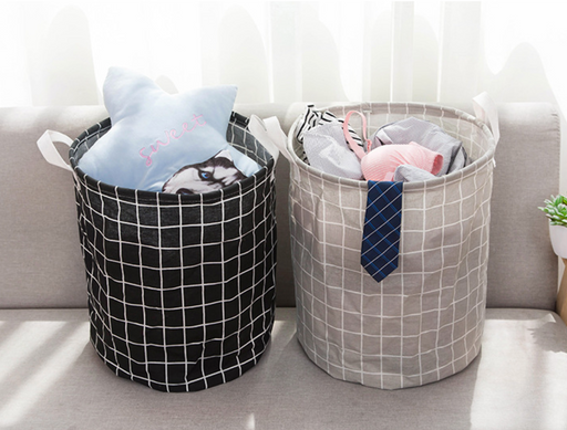 Round Fabric Foldable Laundry Basket