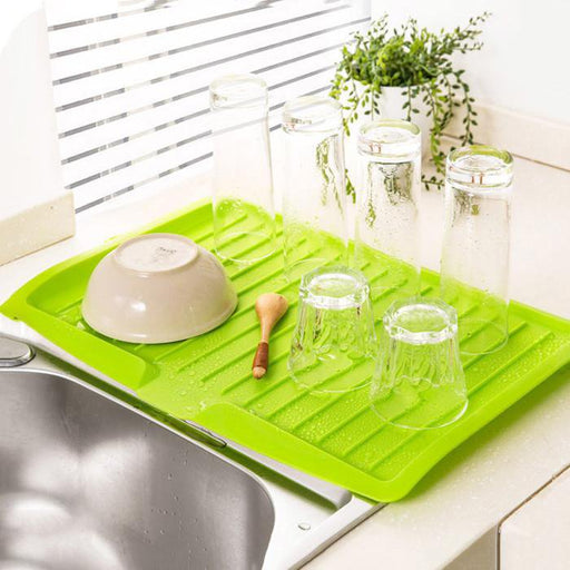 Durable Drying Mat with Drainer - Green