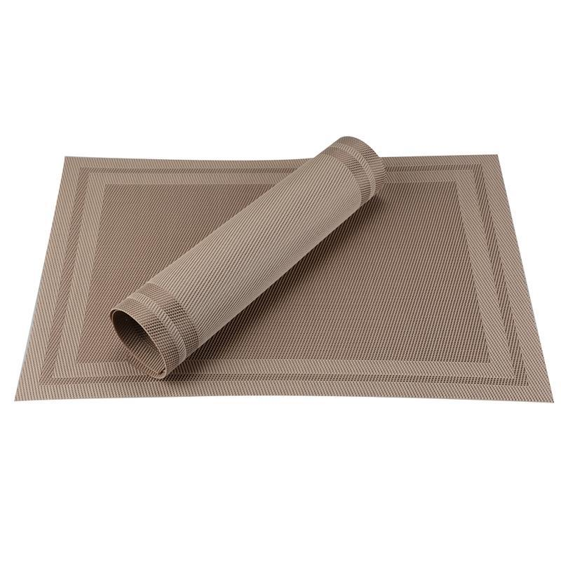Heat-resistant Set of 6 PVC Square Design Woven Placemats Stain Resistant Anti-skid - Lux Gold, Hippomart - HippoMart.SG - Premium Item at Direct Factory Price
