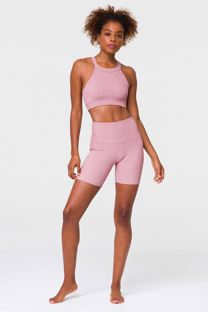 ONZIE Rib Mini Biker Short Antique Rose | Shop Online SPORTLES.com