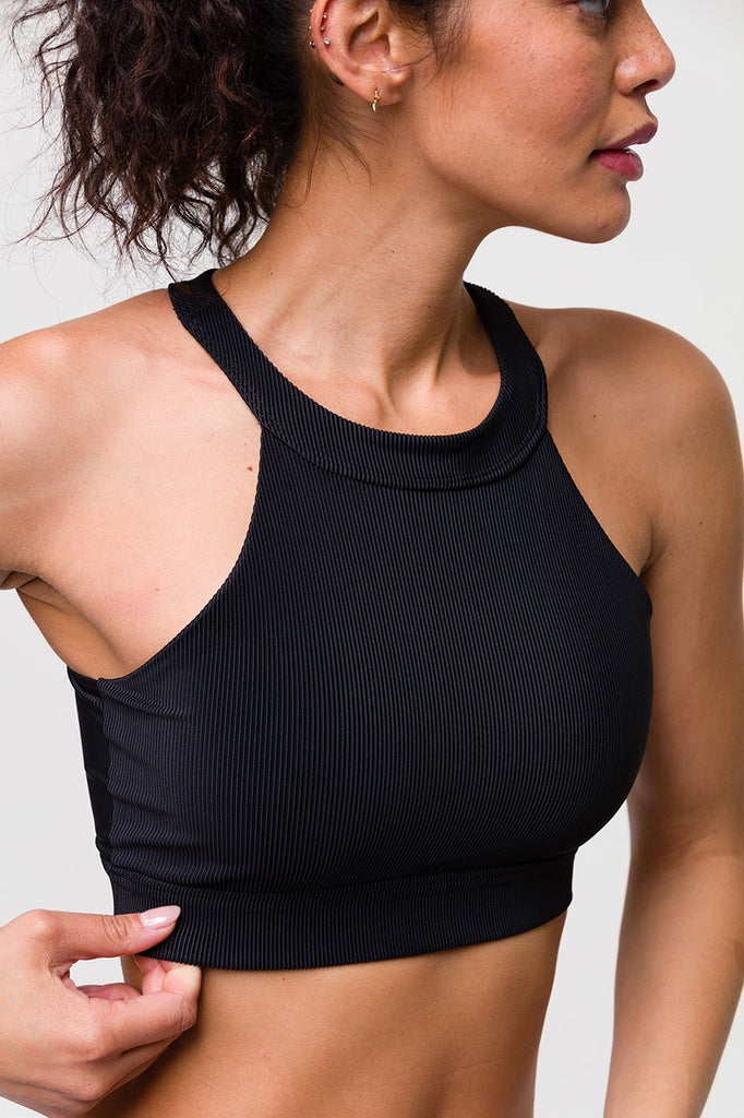 ONZIE High Neck Crop Top Black Rib | New Yoga Collection | Shop Online SPORTLES.com