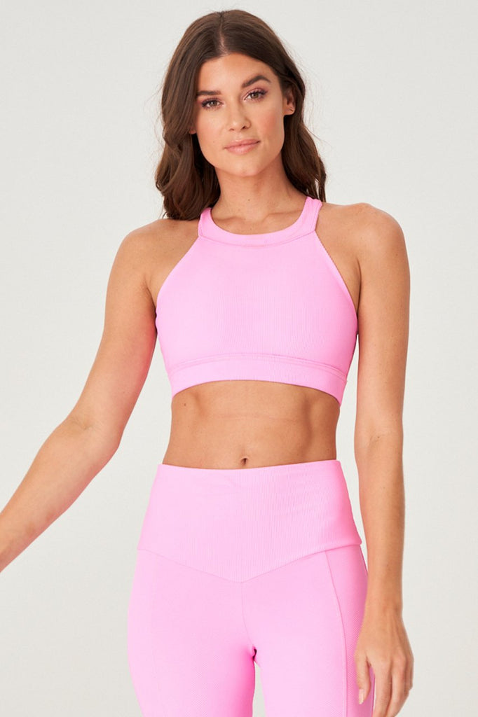 ONZIE High Neck Crop Top Bubble Gum Rib | Shop at SPORTLES.com