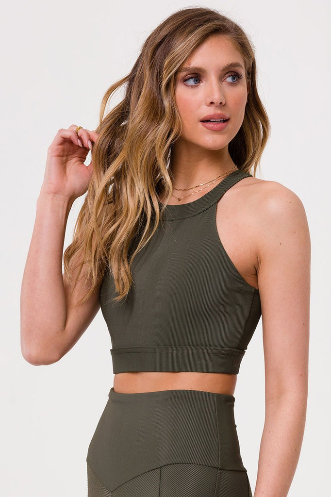 Shop Online ONZIE High Neck Crop Top Olive Rib