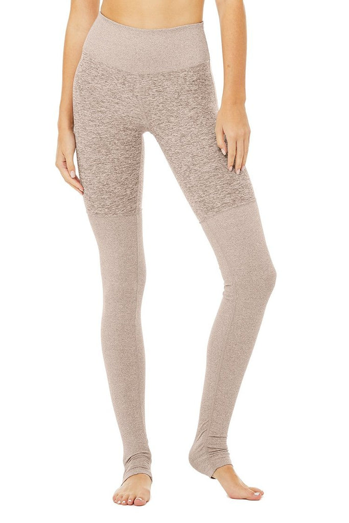 ALO YOGA High-Waist Alosoft Goddess Legging Gravel Heather | Shop Online SPORTLES.com