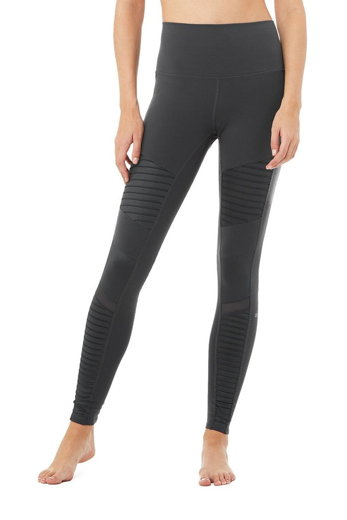 ALO YOGA High Waisted Moto Legging Anthracite | Shop Online SPORTLES.com