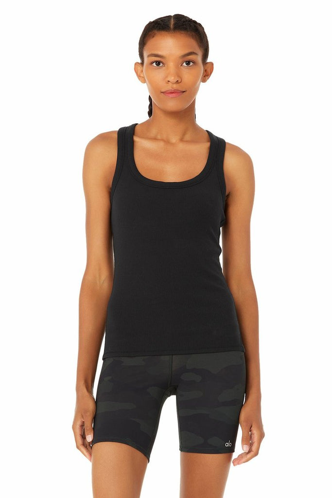 ALO YOGA Rib Support Tank Black | Shop at Sportles.com