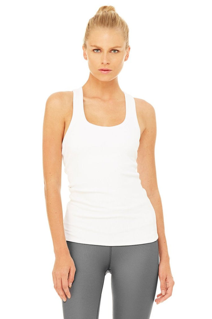 ALO YOGA Rib Support Tank White | Shop at Sportles.com