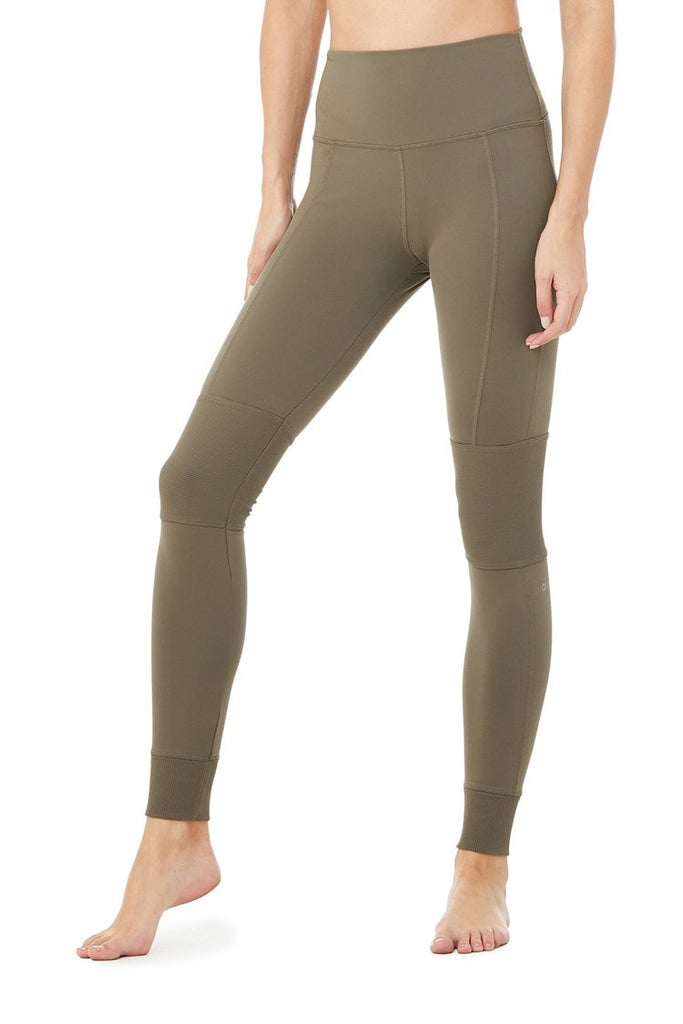 ALO YOGA High-Waist Avenue Legging Olive Branch | Shop Online SPORTLES.com
