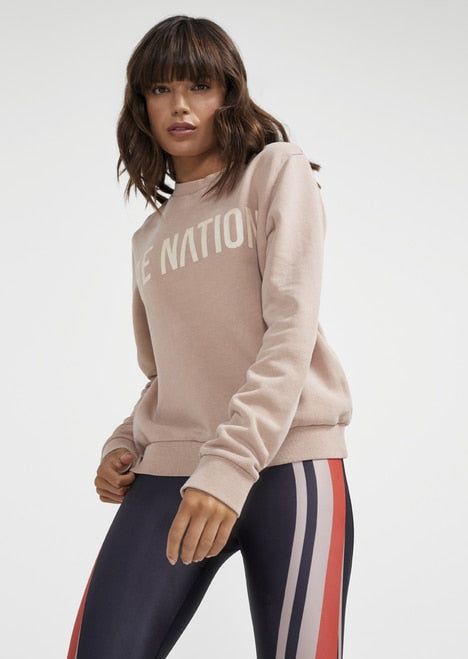 P.E NATION P.E NATION Fortify Sweat Rugby Tan | Sustainable Sweats SPORTLES.com