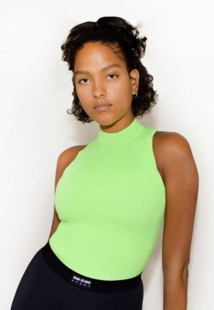 ADAM SELMAN Sleeveless Mock Neck Lime | Shop at Sportles.com