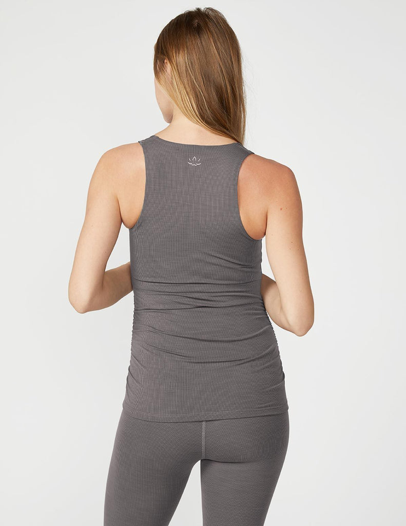 BEYOND YOGA Heather Rib Shirred Maternity Tank - Shop at Sportles.com