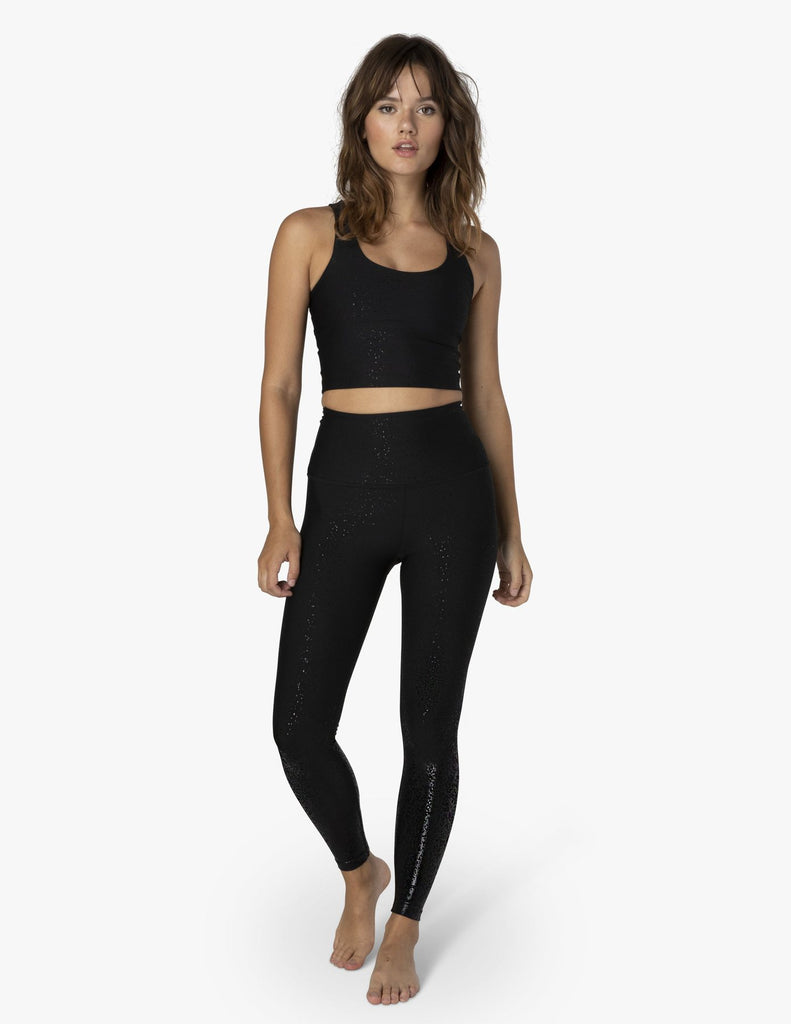 BEYOND YOGA Alloy Strappy Cropped Tank Black Foil Speckle - Shop at Sportles.com