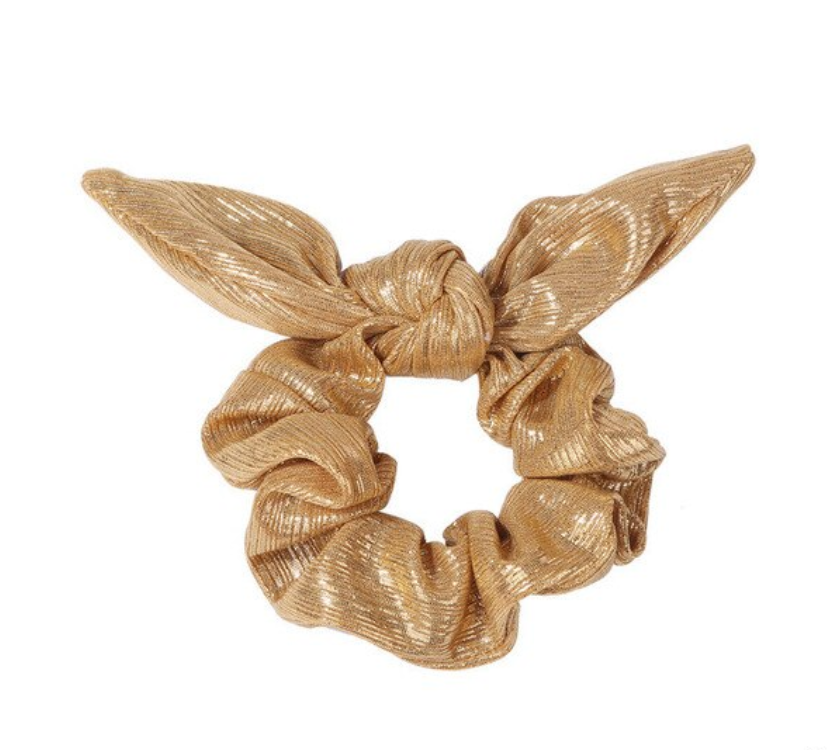 SPORT.LES - SPORT.LES Metallic Bow Scrunchie Gold - SPORTLES.com
