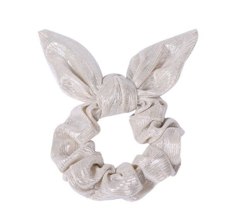 SPORT.LES - SPORT.LES Metallic Bow Scrunchie Light Grey - SPORTLES.com