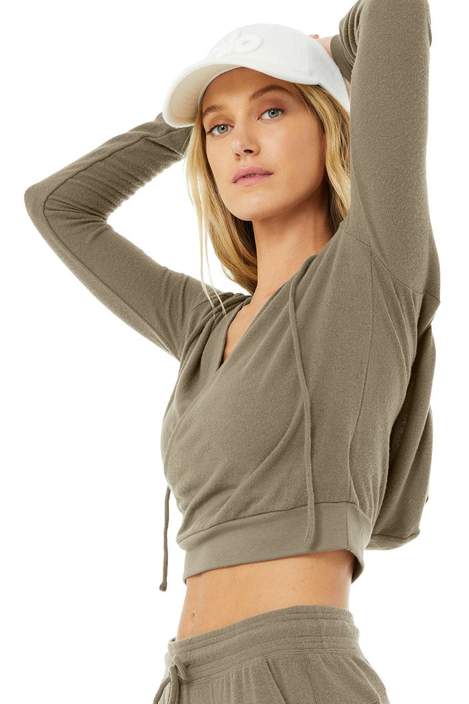 ALO YOGA Wrap Hoodie Olive Branch | Shop Premium Activewear SPORTLES.com