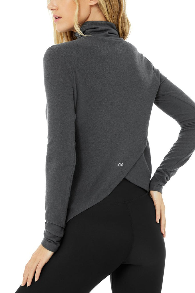 ALO YOGA Embrace Long Sleeve Anthracite | Shop Premium Activewear SPORTLES.com