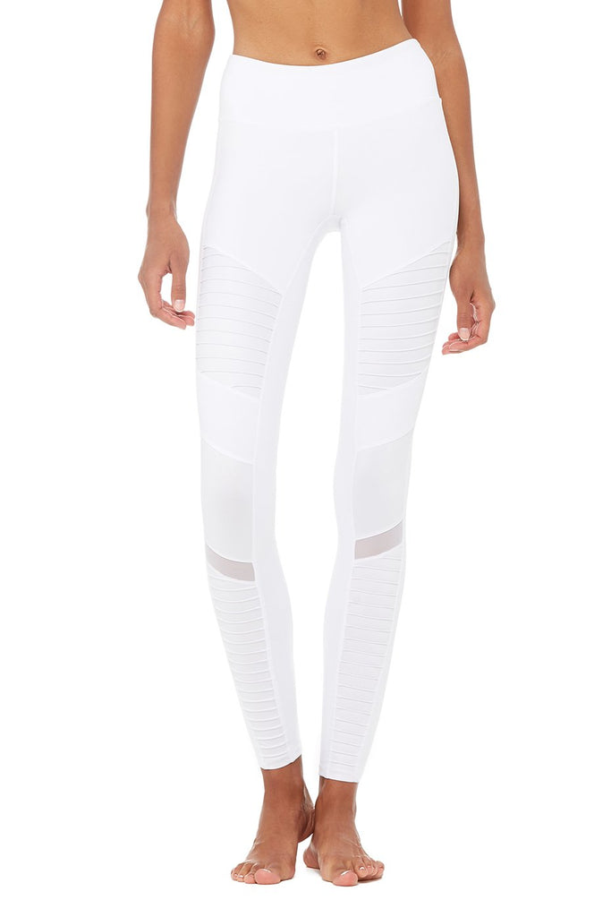 ALO YOGA High Waisted Moto Leggings White - SPORTLES.com
