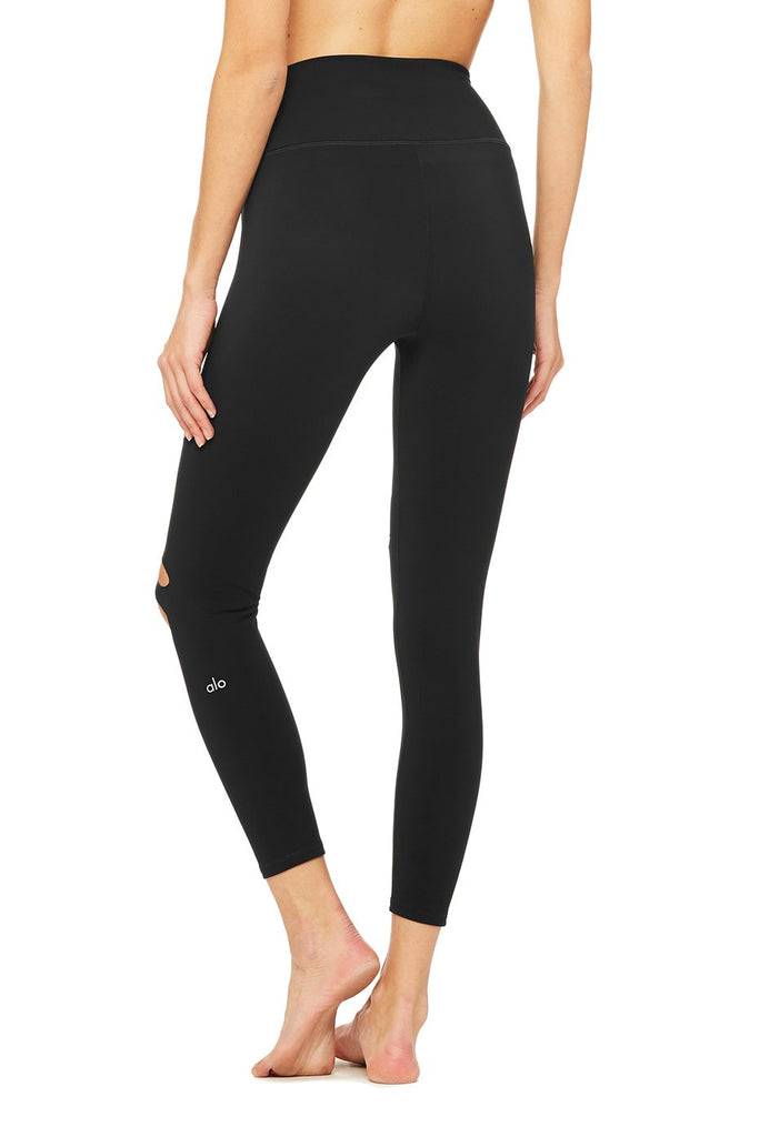 ALO YOGA - ALO YOGA High-Waist Ripped Warrior Legging Black - SPORTLES.com