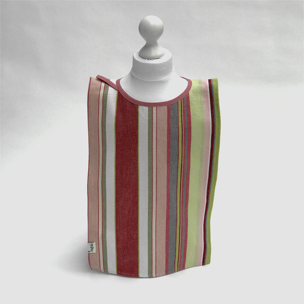 Big Bib Tunic - Cotton Stripe, Pink/Green