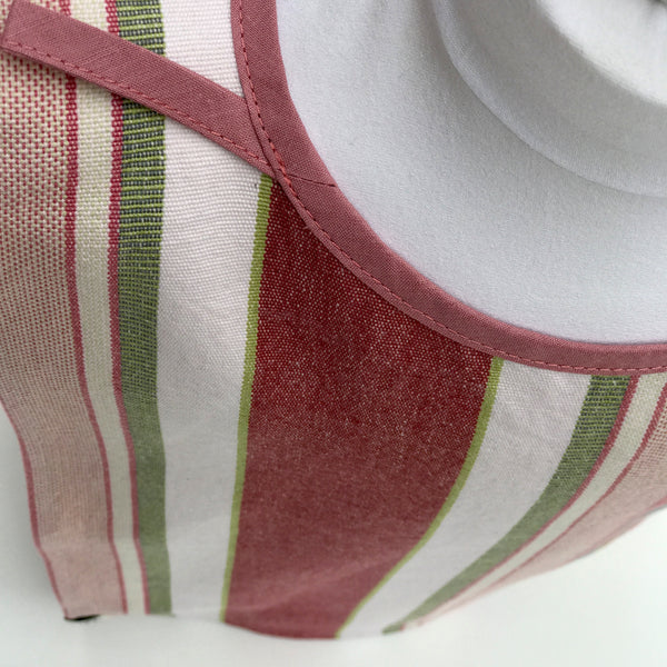 Big Bib Tunic neckline - Cotton Stripe Bigbib, Pink/Green