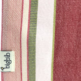 Big Bib Tunic Closeup - Cotton Stripe Bigbib, Pink/Green