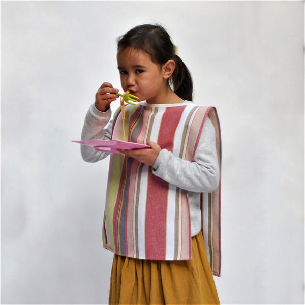 Child in Big Bib Tunic - Cotton Stripe Bigbib, Pink/Green