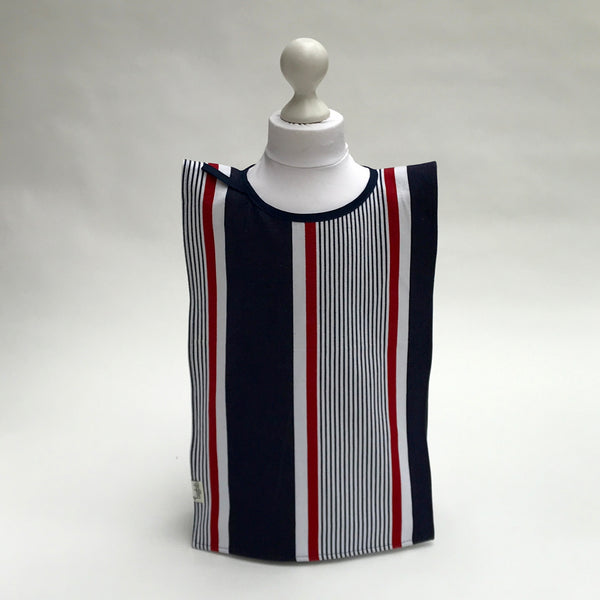 Big Bib Tunic - Cotton Stripe Bigbib, Red/Blue