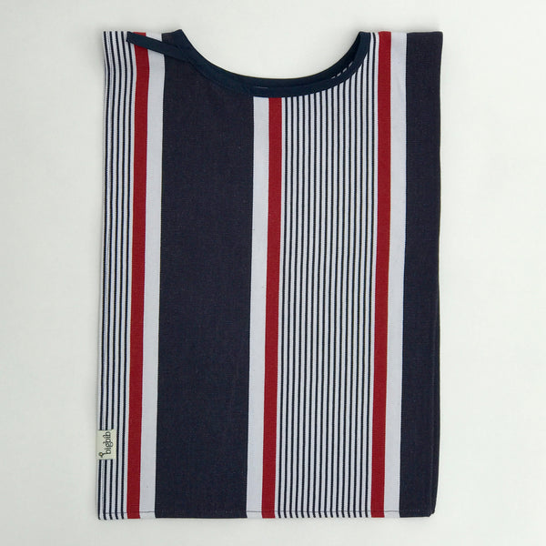 Big Bib Tunic flat - Cotton Stripe Bigbib, Red/Blue