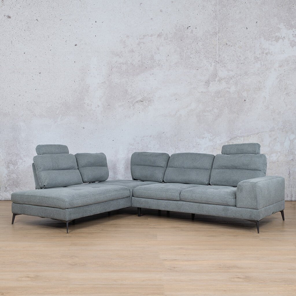 Malta Fabric Corner Couch | L-Sectional 5 Seater Couch | Slate Grey | Front Angled | Couches For Sale | Leather Gallery Couches