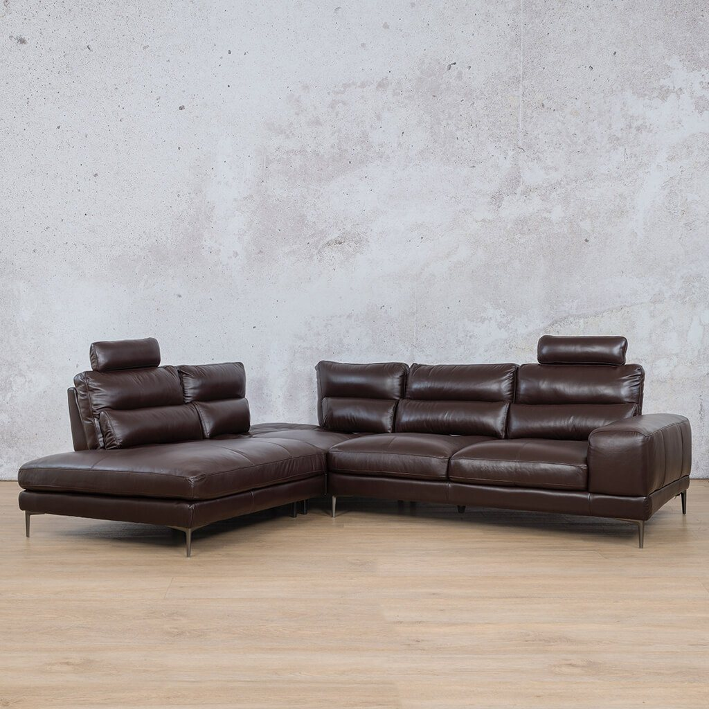 Madrid Leather Corner Couch | Sectional | Choc-M | Couches For Sale | Leather Gallery Couches