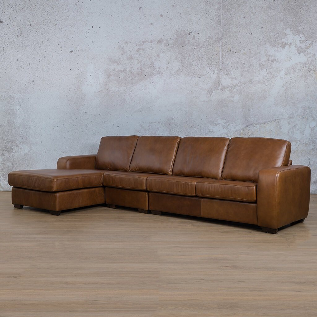 Starnford Leather Corner Couch | Modular Sofa Chaise-LHF | Fudge-S | Front Angled | Couches For Sale | Leather Gallery Couches