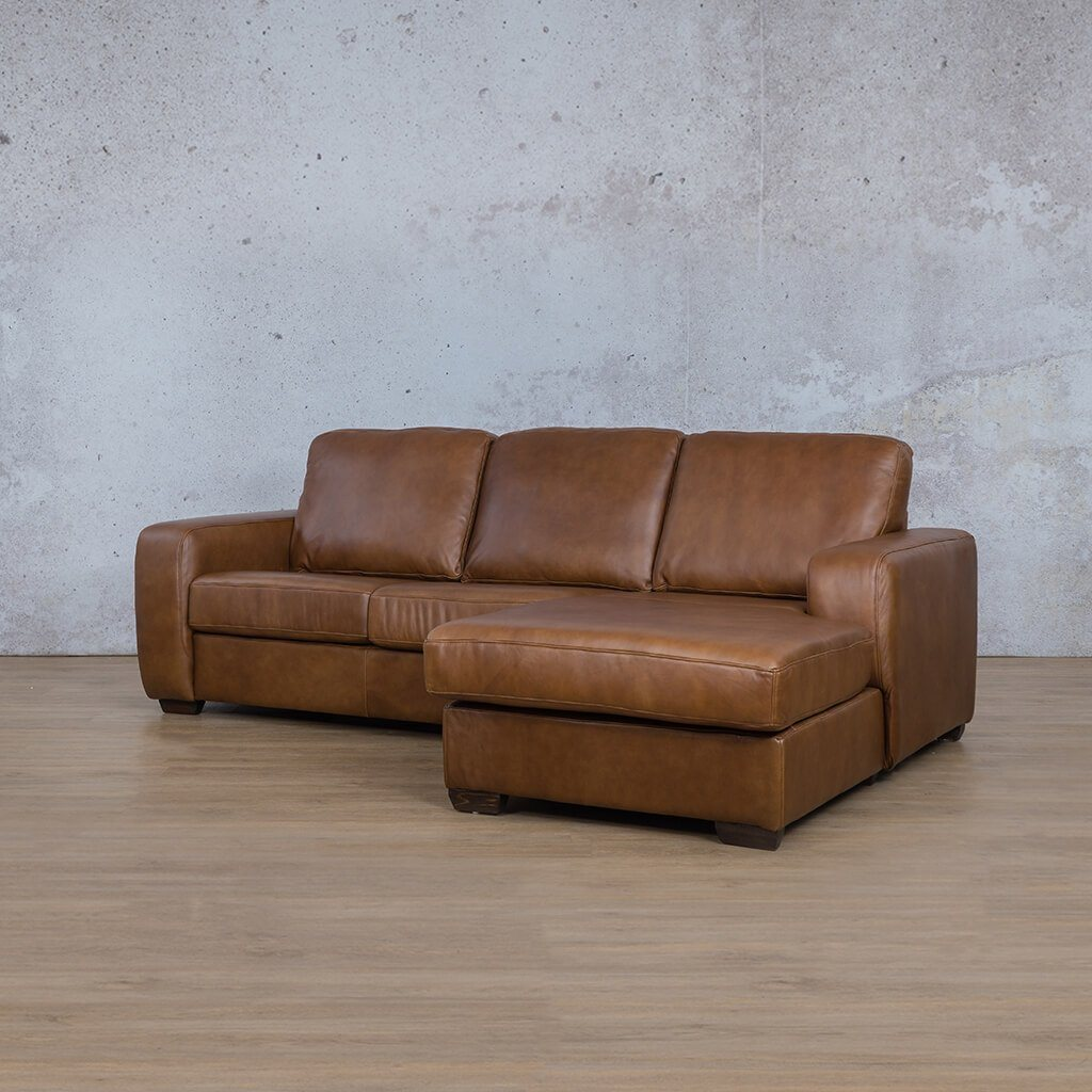 Starnford Leather Corner Couch | Sofa Chaise-RHF | Fudge-S | Front Angled | Couches For Sale | Leather Gallery Couches