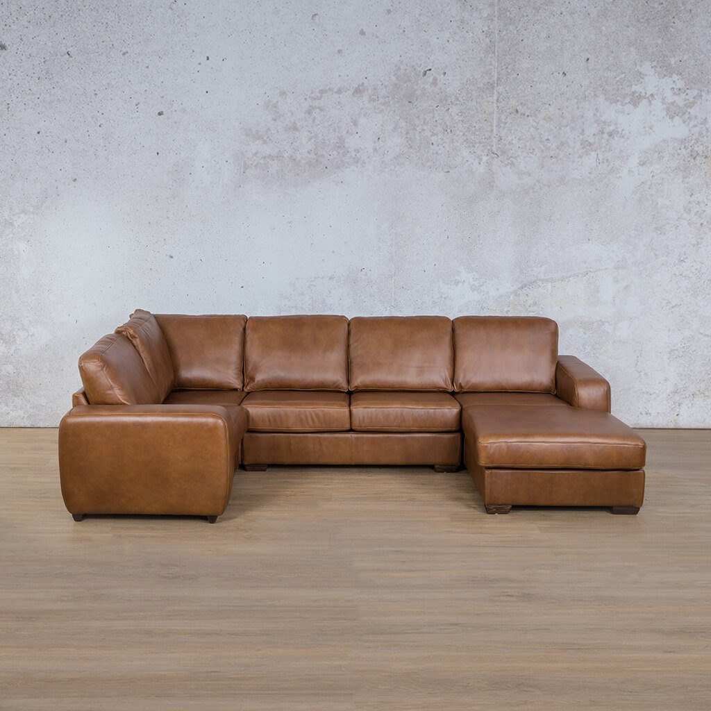 Starnford Leather Corner Couch | U-Sofa Chaise-RHF  | Fudge-S | Couches For Sale | Leather Gallery Couches