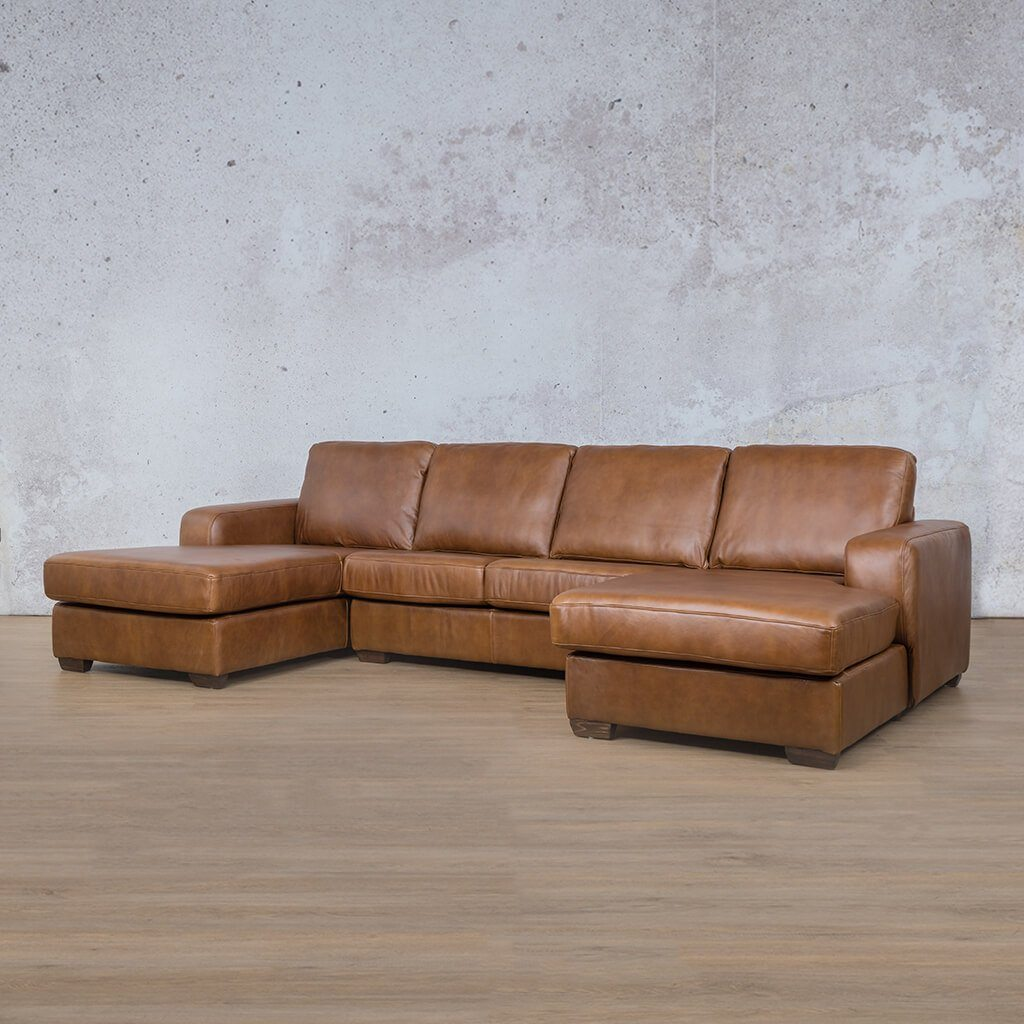 Starnford Leather Corner Couch | U-Chase Couch | Fudge-S | Front Angled | Couches For Sale | Leather Gallery Couches