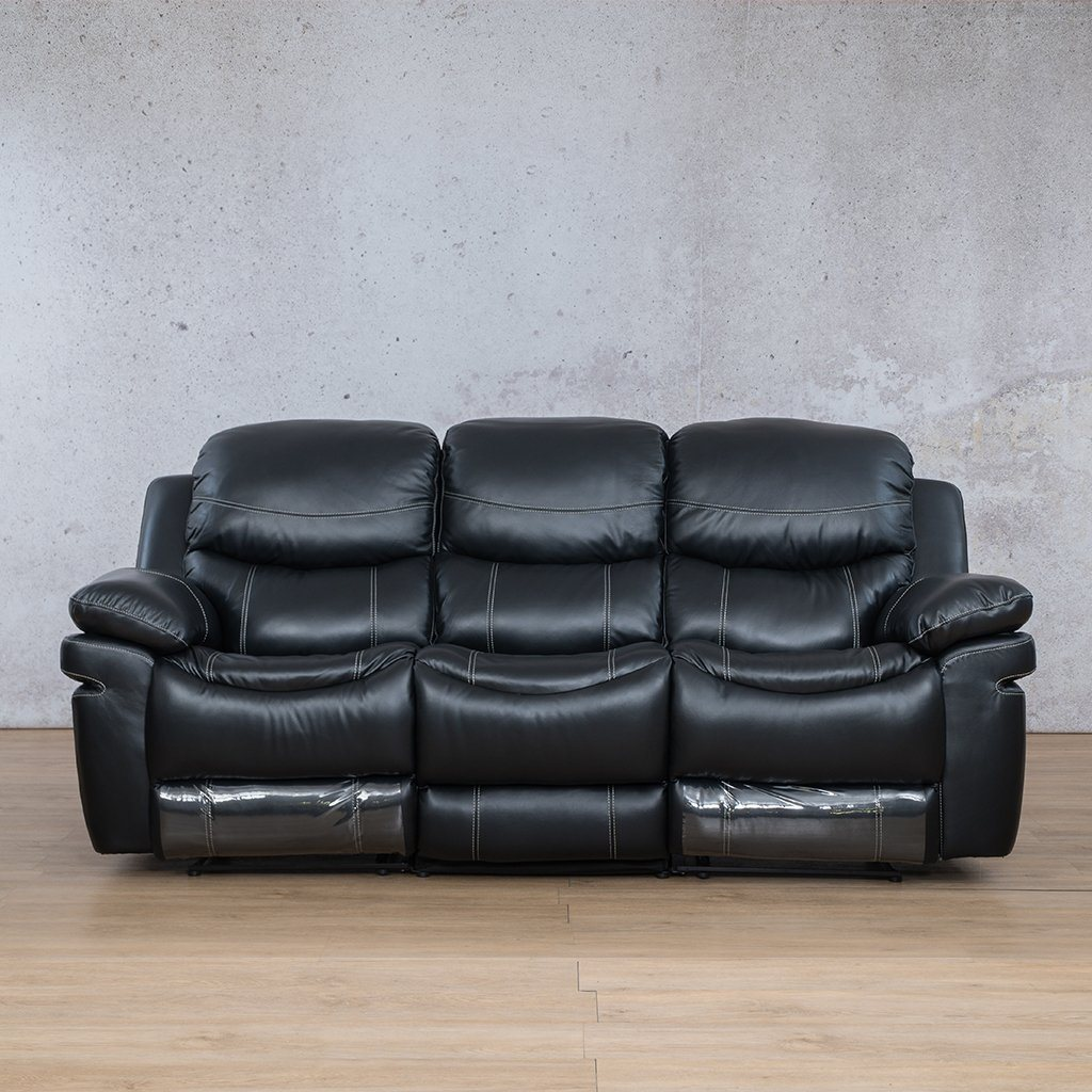 Geneva Leather Recliner Couch | 3 Seater Couch | Black-G | Couches For Sale | Leather Gallery Couches
