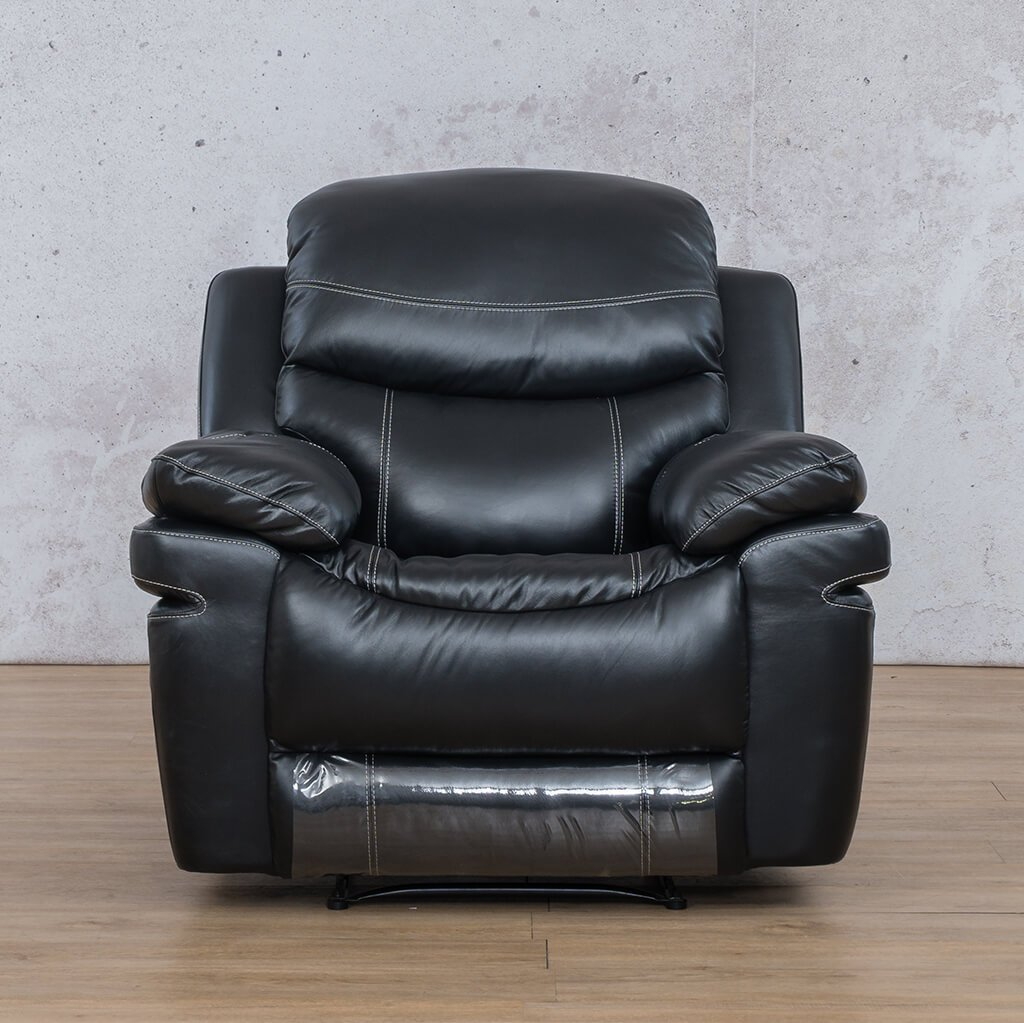 Geneva Leather Recliner Couch | 1 Seater Couch | Black-G | Couches For Sale | Leather Gallery Couches