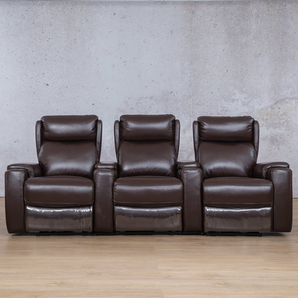 Vegas Leather Recliner Couch | 3 Seater Home Theatre | Choc-G | Couches For Sale | Leather Gallery Couches
