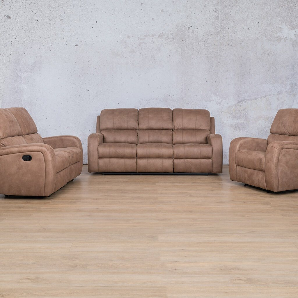 Orlando Fabric Recliner Couches | 3-2-1 Seater Couches | Light Brown-O | Couches For Sale | Leather Gallery Couches