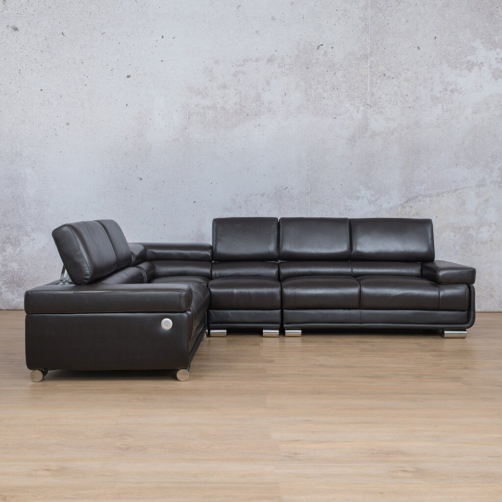 Tobago Leather Corner Couch | L-Sectional 5 Seater Couch | Blue-T | Couches For Sale | Leather Gallery Couches