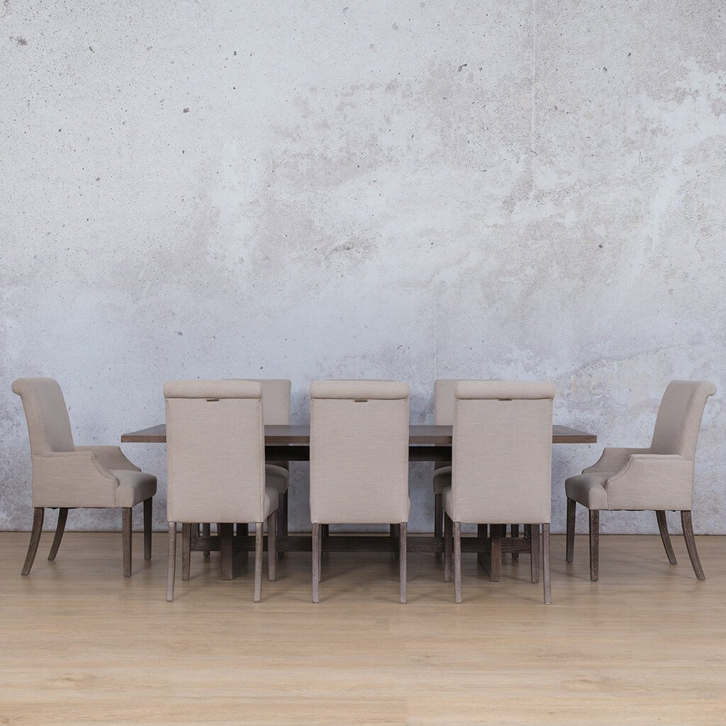 Bolton Wood Top & Baron | 8 Seater | Dining Set | Leather Gallery