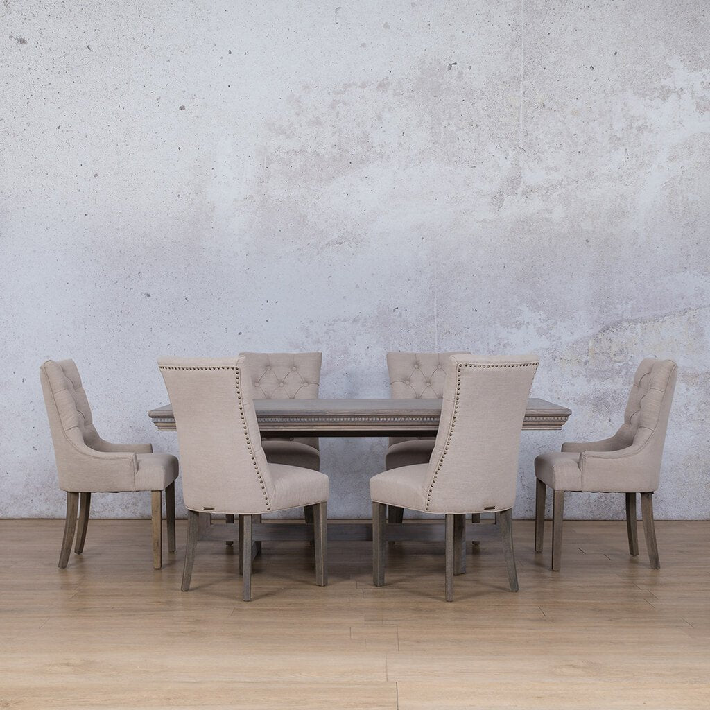 Bolton Fluted Wood Top & Duchess | 6 Seater | Dining Set | Leather Gallery