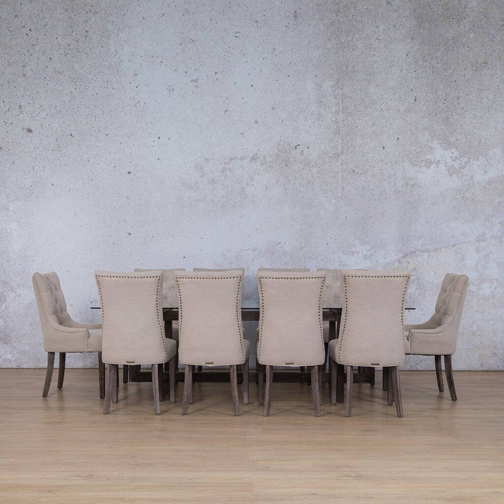 Bolton & Duchess Dining Set | 10 Seater Dining Set | Antique Coffee | Dining sets for Sale | Glass Table Top | Leather Gallery Dining Sets